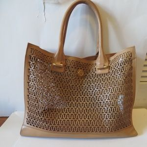 TORY BURCH TAN LEATHER CROCHET LARGE TOTE BAG